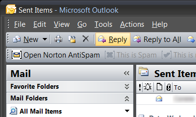 screen shot of Outlook 2007